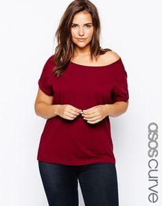 Ingrandisci Esclusiva ASOS CURVE - T-shirt colorata con spalle scoperte