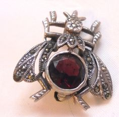 Sterling Silver Garnet Marcasite Fly Pin - Vintage Insect by bitzofglitz4u on Etsy