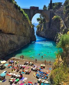 Fiordo di Furore, a piece of paradise on the Amalfi Coast, Italy. Furore is a typical town on the Amalfi Coast, particularly known for its fjord.