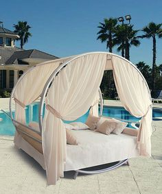 Take a look at this Luxury Sun Lounge Outdoor Bed Set on zulily today! Must have for when we get house with pool. Gorgeous!!!