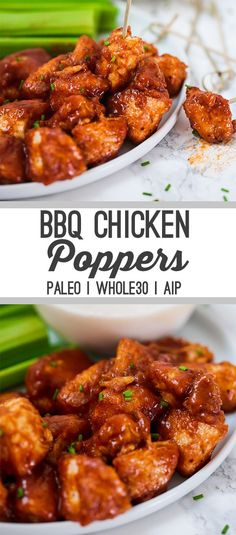 These BBQ Chicken Poppers are the perfect summertime meal! Serve them as an easy dinner, or bring it to a fourth of July cookout as an appetizer. They're paleo, Whole30, and AIP compliant. #easydinner #whole30 #paleo #aip #fourthofjuly #summerrecipes #fathersday