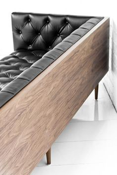 "Love this idea of wrapping a sofa in wood, as seen on Design on a Dime.  Blacks & Browns - ""Industrial Glam"" - ModShop Style Blog ModShop Style Blog"