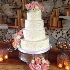 Lace wedding cake for Loren and Edward #polkadotscupcakefactory #brockandcoevents