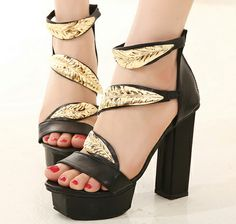New 2014 Summer GZ Shoes Fashion Metal Leaves Buckle Womens High Heels Sandals Platform Shoes Woman Thick Heel Female Footwear $34.98 - 44.98