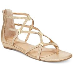 Thalia Sodi Pamella Strappy Demi Wedge Sandals, ($31) ❤ liked on Polyvore featuring shoes, sandals, gold, gladiator sandals, greek sandals, gladiator sandals shoes, gold shoes and strap sandals