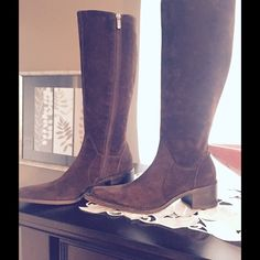 """Priori Italian Boots Dark chocolate gorgeous suede Italian boots with a western flair. Lined with brown leather and has a solid wooden 2"""" heel. 15"""" shaft and a sturdy solid zip. Pointed toe. No visible signs of wear on the suede. EUC. Piori Shoes Heeled Boots"""