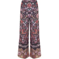 Miss Selfridge Paisley Border Print Trousers (46 CAD) ❤ liked on Polyvore featuring pants, trousers, bottoms, calças, assorted, pattern wide leg pants, paisley pants, wide-leg trousers, print pants and purple pants