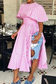 Casual Dresses, Fashion Dresses, Cheap Dresses, Cotton Blouses, White Blouses, Pattern Fashion, Pink Dress, Ruffle Dress, Ruffles