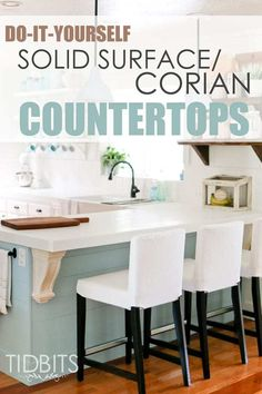 DIY Solid Surface/Corian Countertops.  Save thousands of dollars, and still get a high end look with your countertops.