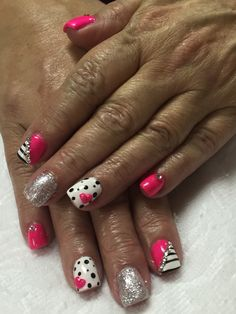 Hot pink with stripes and polka dots. 3D hearts nails