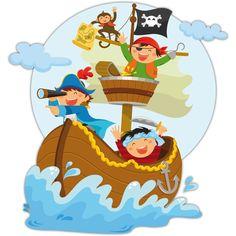 Vinilos Infantiles: Piratas navegando en su barco
