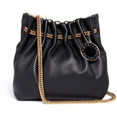 Stella Mccartney 'Noma' curb chain eco leather bucket bag (2 320 010 LBP) ❤ liked on Polyvore featuring bags, handbags, black, bucket bag, black handbags, stella mccartney, carryall bag en stella mccartney bags