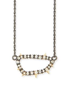 Elements Spiked Crystal Link Pendant Necklace by Alexis Bittar at Neiman Marcus.
