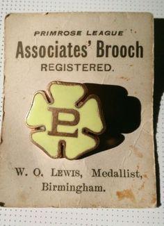 Enamel Primrose League Vintage Retro Fashion Pin Brooch Orginal Package Display