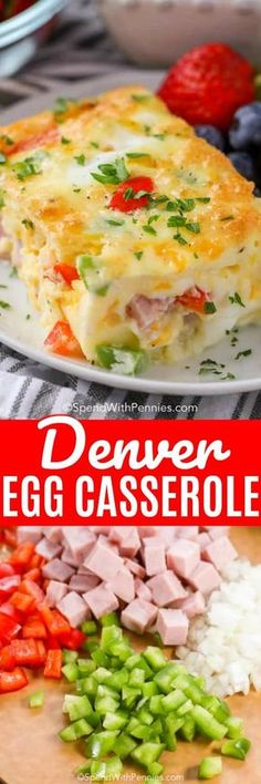 4 Points About Vintage And Standard Elizabethan Cooking Recipes! This Denver Egg Casserole Is Easy To Make With Ham, Peppers And Onions Baked In A Fluffy Egg Mixture Brunch Casserole, Egg Casserole, Casserole Recipes, Breakfast Items, Breakfast Dishes, Breakfast Recipes, Egg Recipes, Brunch Recipes, Cooking Recipes