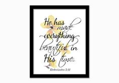 Christian Print. He has made everything by GrapevineDesignShop Mother Birthday Gifts, Gifts For Mom, Everything, Christian, Wall Art, Unique Jewelry, Handmade Gifts, Frame, Prints