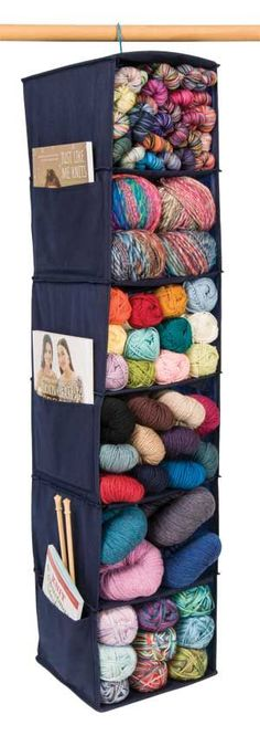 Yarn Organization - smart.  This would work well for fabric too -- I have a ton of these and never thought to use them for anything except sweaters.