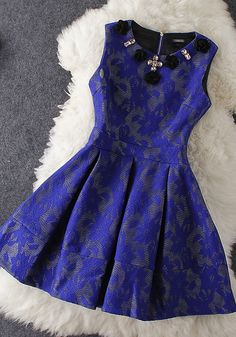 Flowers Blue Embroidered Dress