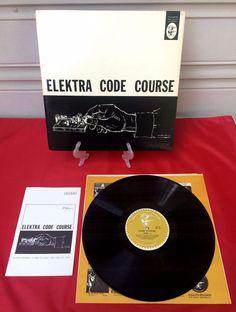 Vintage 1956 Ham Radio ELEKTRA CODE COURSE Vinyl LP Record + Instruction Booklet #Instructional