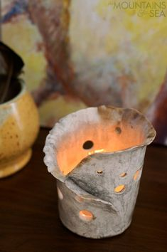 Good Free of Charge Slab Pottery candle holders Thoughts White Ceramic Candle Holders – Foter Pottery Handbuilding, Raku Pottery, Slab Pottery, Pottery Art, Ceramic Lantern, Ceramic Candle Holders, Candle Holder Decor, Ceramic Decor, Hand Built Pottery