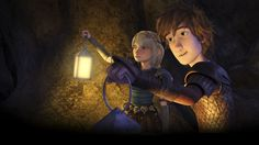Hiccup and Astrid searching in the cave from Dreamworks Dragons Race to the Edge