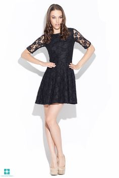 Black Lace Fit & Flare Dress by Katrus Lace Overlay Dress, Lace Dress, Flare Skirt, Fit Flare Dress, Cute Dresses, Formal Dresses, Dress Making, Ready To Wear, Cold Shoulder Dress