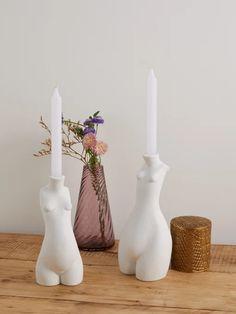 Anissa Kermiche Set of two body ceramic candlesticks Ceramic Pottery, Ceramic Art, Pottery Pots, Thrown Pottery, Slab Pottery, Ceramic Bowls, Keramik Design, White Bodies, My New Room