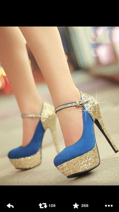 cab8c87b396b Blue and Gold heels! Fashion All-matched Stiletto Heels Closed-toe Women s  Shoes. Girls would definitely have a crush on these sexy heels.