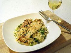 Lemon Parmesan Crusted Tilapia with Broccoli Orzo