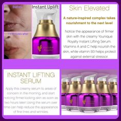 Give your skin the Royal Treatment with Younique's new Instant Lifting Serum! Available for purchase mid September 2016! I am so excited about these products! #YouniqueRoyalty #ClickImageToShop #Questions #EmailMe sarahandbrianyounique@gmail.com or comment below
