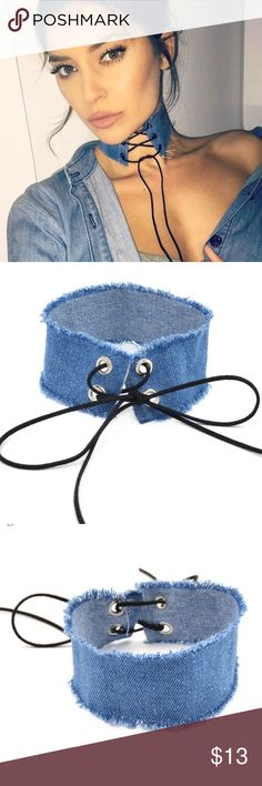 """""""Deny Em"""" Laced Up Denim Choker NEW """"Deny Em"""" Choker is Handmade w/ grommet detailing & leather cord lace Item is NEW WITH TAGS AND NEW IN BAG ••••••••••••••••••••••••••••••••••••••••••••••••••••••••- Perfect For any Day Time Occasion Feel Free to make A REASONABLE Offer ⬇️. NO LOWBALL OFFERS ♀️. Bundle to Save! ••••••••••••••••••••••••••••••••••••••••••••••••••••••••-Material: Denim    Color: Light Blue Forever 21 Jewelry Necklaces"""