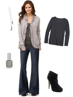 Gray Cardigan and Wide Leg Jeans