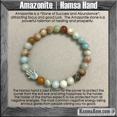 Bracelets I Law of Attraction | #LOA | Beaded & Charm Yoga Mala I Meditation & Mantra I Spiritual. Amazonite Hamsa Hand Evil Eye Miriam.
