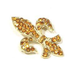 Yellow Topaz Color Austrian Rhinestone Fleur de lis Gold-Tone Brooch Pin Fashion Jewelry. $9.95