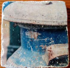 Blue Vintage Milk Jug Fine Art Photography Manually Transferred to Travertine Stone Tile, Coaster Backing of Cork for Table Protection Custom Coasters, Milk Jug, Stone Tiles, Travertine, Fine Art Photography, Decorating Your Home, Vintage Items, Texture, Awesome