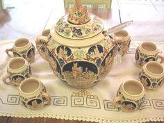 Vintage Gerz German Castle 10pc Punch Bowl Set Stoneware. Amy Brown, Punch Bowl Set, Stoneware, Tea Pots, German, Castle, Antiques, Tableware, Glass