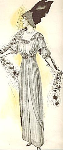 1911 Fashion Illustration The Delineator Winged Hat Boa