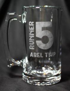 Items similar to Runner 5 (Zombies, Run!) Hand Etched Beer Mug on Etsy Zombies Run, Run Runner, Walk Run, Gates, Favorite Things, Beer, Running, Mugs, Etsy