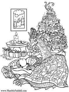 Christmas Dragon Coloring Page