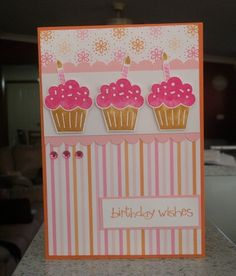 Cupcake card- Using Stampin' Up! collection Party Hearty