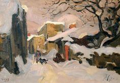 Jules Émile Zingg tableaux painting snow