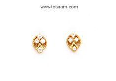 Gold Earrings for Women in 22K Gold with Cz - GER6593 - Indian Jewelry from Totaram Jewelers