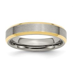 Bridal & Wedding Party Jewelry Sporting Titanium 14k Yellow Inlay 5mm Brushed Wedding Ring Band Size 6.00 Precious