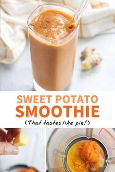 This SWEET POTATO SMOOTHIE is a healthy way to use up leftover baked sweet potatoes. It tastes like a holiday pie! Naturally-sweetened and dairy-free. Healthy Smoothies, Smoothie Recipes, Juicer Recipes, Blender Recipes, Healthy Drinks, Healthy Recipes, Sweet Potato Smoothie, Sweet Potato Juice, Amigurumi