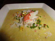 Roasted Corn-Coconut Soup with King Crab
