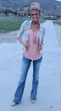 Great outfit... lace blazer loose top great jeans