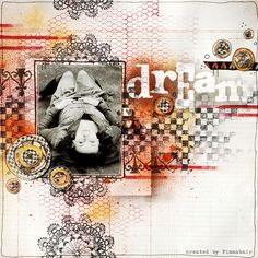 Awesome! Art in a scrapbook layout #scrapbook