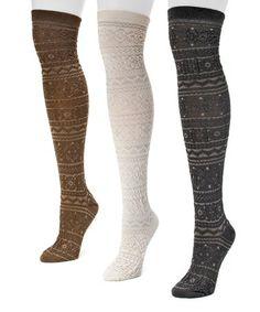 Love this Black & Brown Over-the-Knee Three-Pair Socks Set - Women on #zulily! #zulilyfinds
