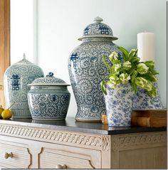 Cote de Texas Blue and White jars arrangement (ceramics)