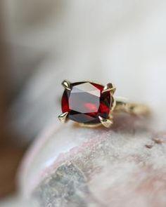 Solid Gold Garnet Statement Ring – Lacee Alexandra Jewelry